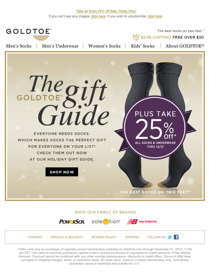 GoldToe Holiday Email Image